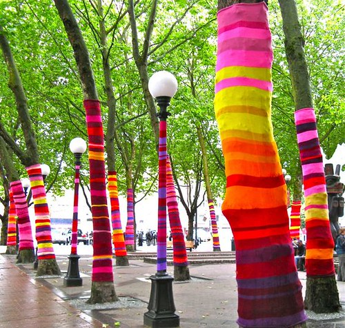 Cool photo of a yarn bombing event from 2017!