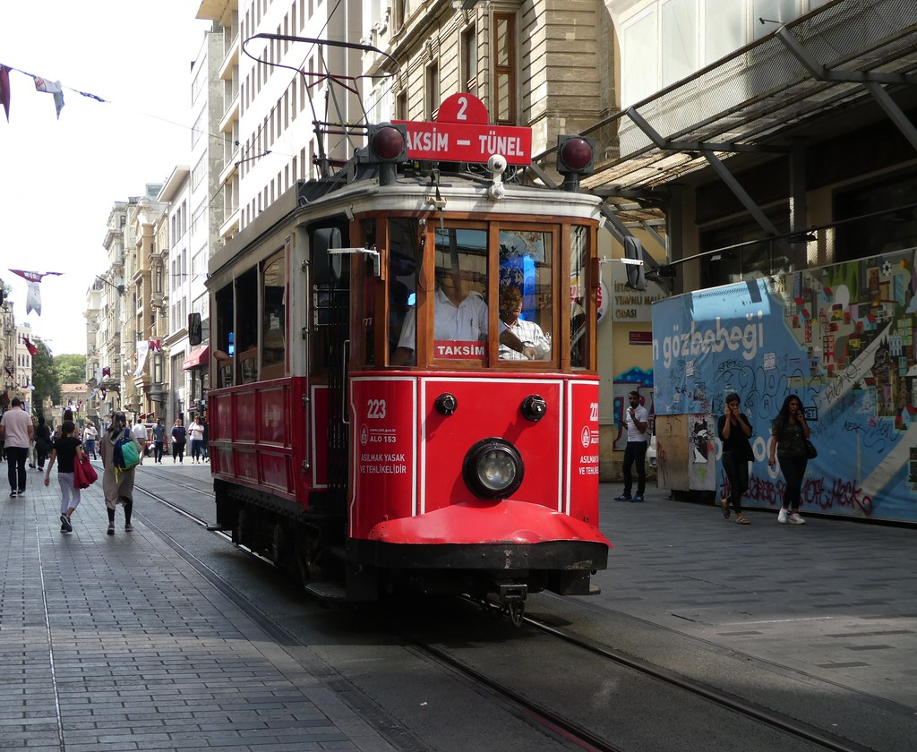 The heritage Line 2 Tram in Taksim, Istanbul