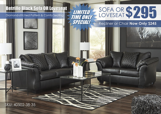 Betrillo Black Sofa OR Loveseat Special_40502-38-35-T003