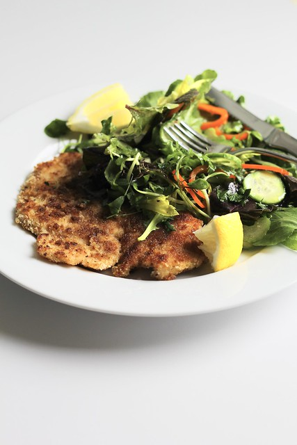 chicken and salad milanese style