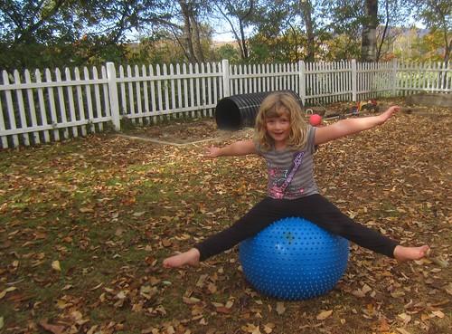 balancing on a bumpy blue ball