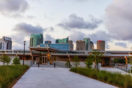 beercan florida julianlanepark rivercenter rivergatebuilding skyline sunrise sykesbuilding tampa unitedstates