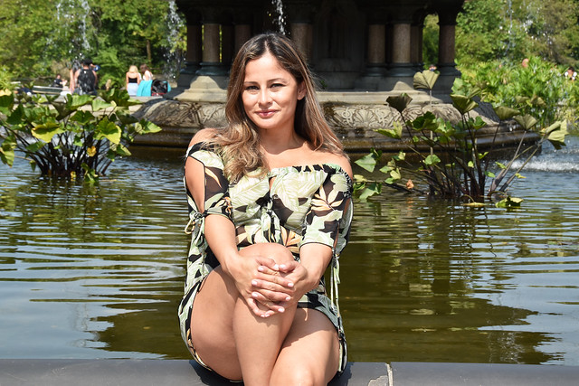 Picture Of Carolina Modeling A Green Romper Dress In Central Park In New York City. Photo Taken Sunday August 26, 2018
