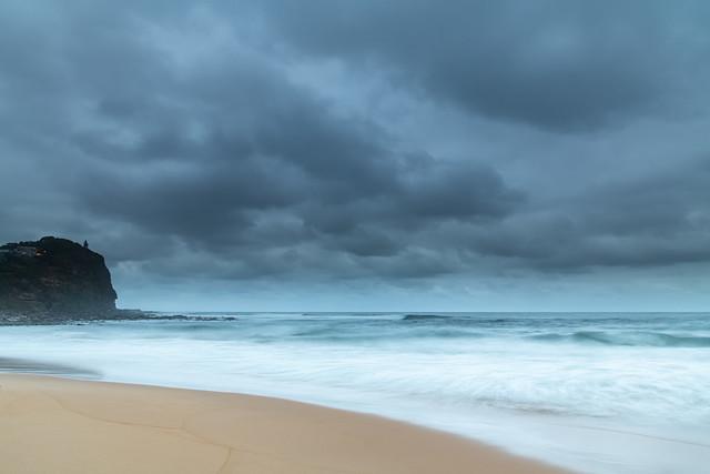 Rain Clouds at Copacabana - Overcast Sunrise Seascape