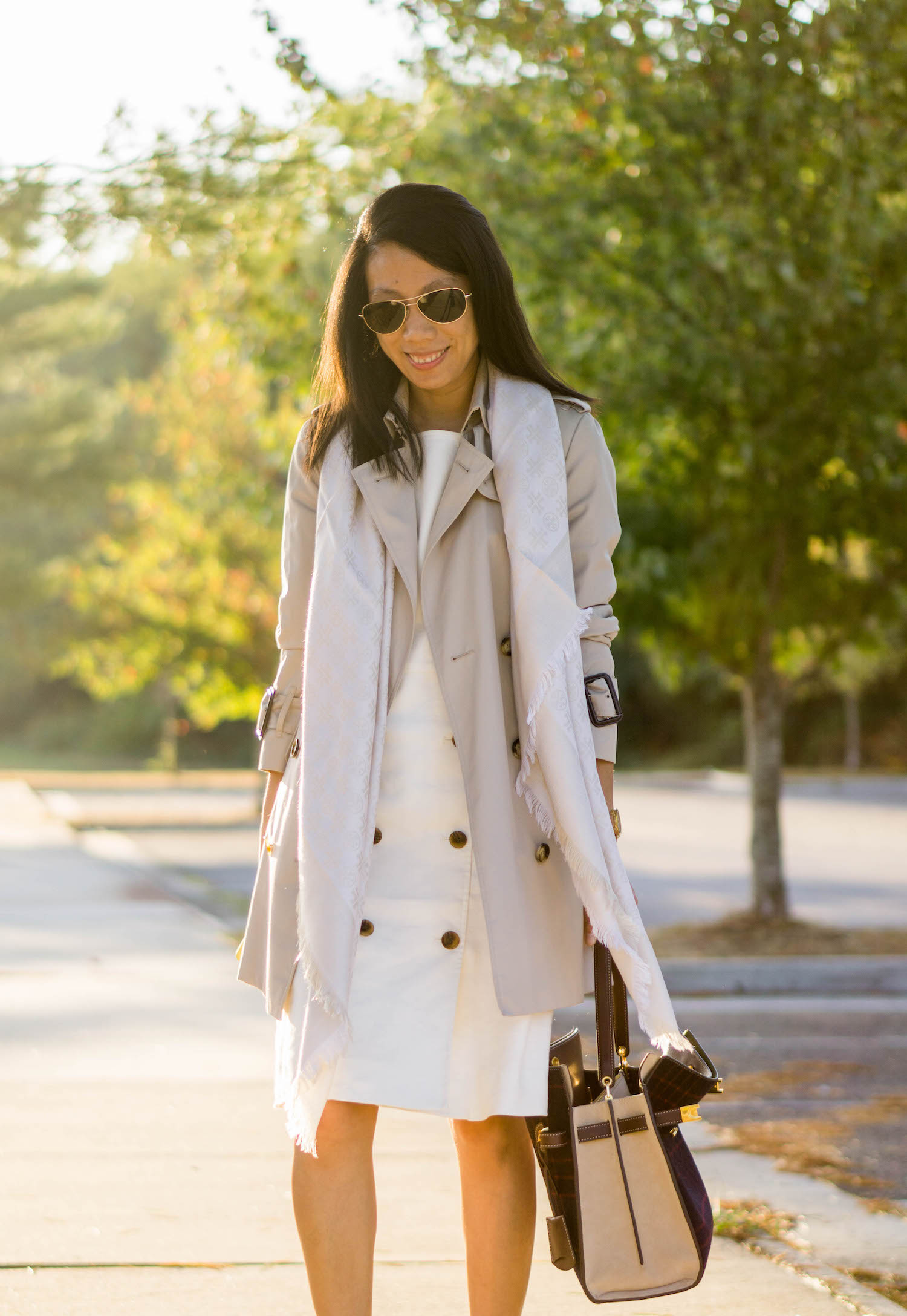 Burberry Marystow trench coat, Tory Burch traveler scarf, Tory Burch Whitney watch, J.Crew double-breasted sleeveless sheath dress, Tory Burch Lee Radziwill double bag in checked splittable wool