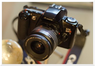 Canon EOS Rebel XS (1993) with Canon 1:4-5.6 EF 22-55mm zoom (EOS mount) - Canon EOS M (2012) with Canon EF 50mm 1:1.8 Mark 1 (1987) Prime (EOS mount) and Fotodiox Pro (EF-EOS M adapter)