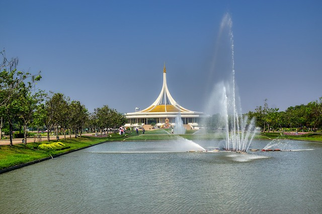 Rajamangala hall and water fountains in Suan Luang Rama IX park in Bangkok, Thailand