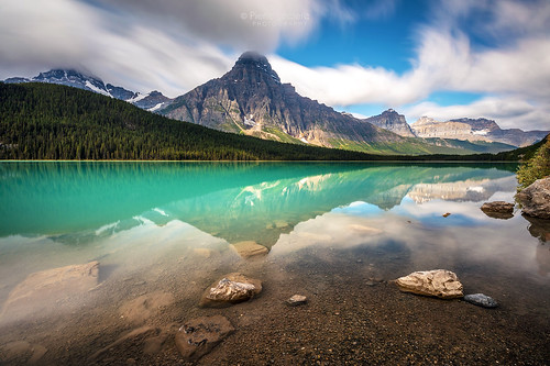 Mountain landscape and reflection on a scenic drive along the Icefield Parkway