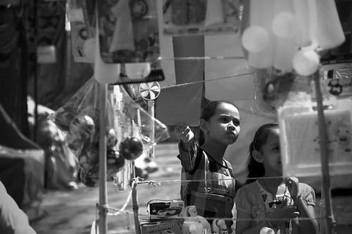 Children in a toy stall