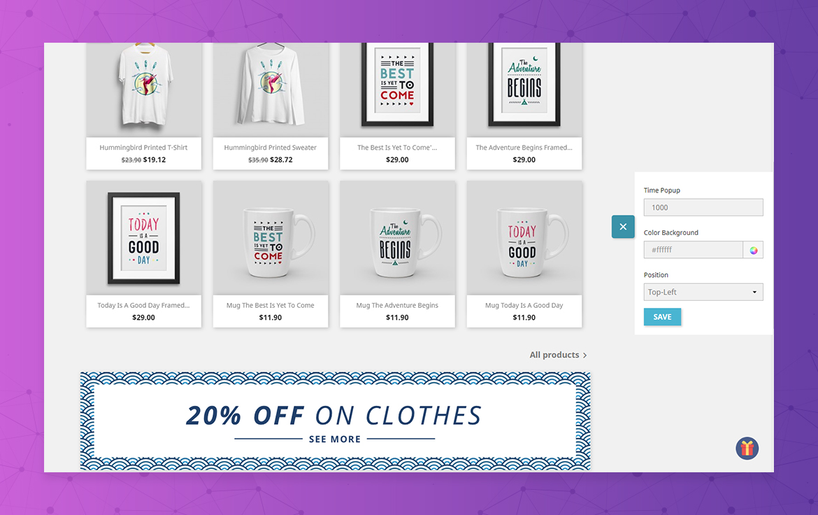 leo popup sale free prestashop module - configure right on frontend