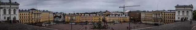 panorama of Senate Square (Senaatintori), Helsinki, Finland.