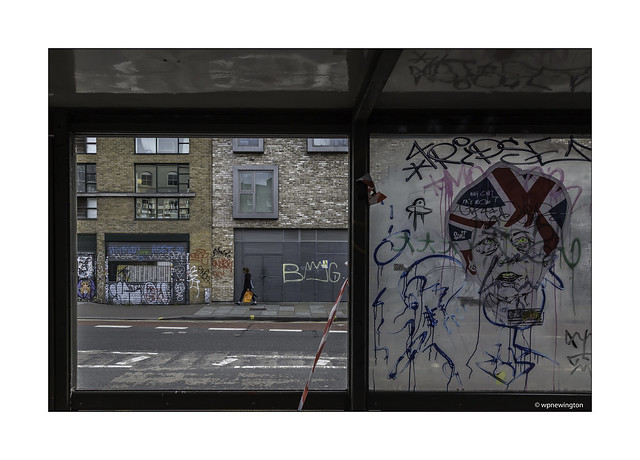 Shoreditch through a Bus Stop Window ©