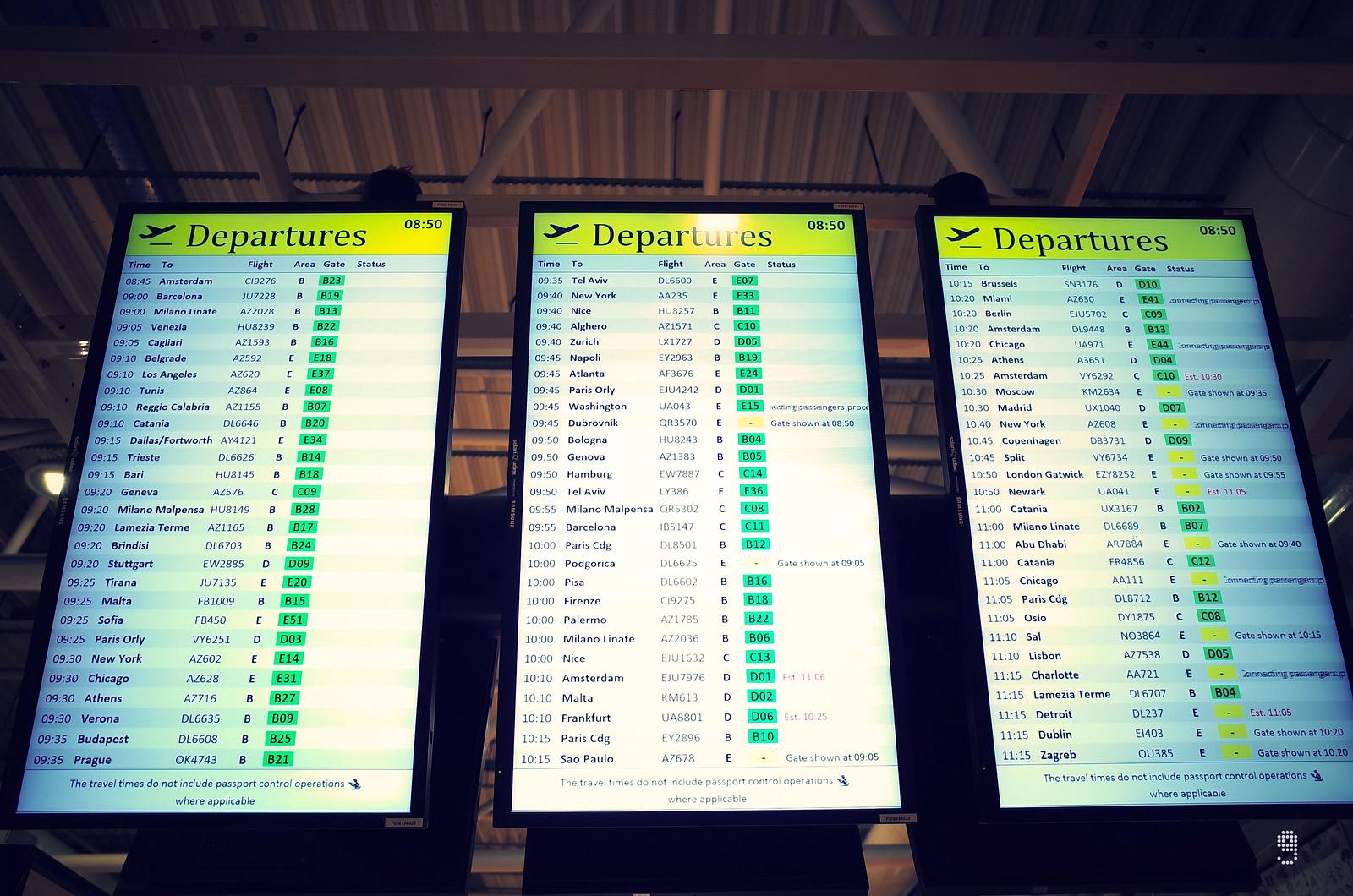一號客運樓始發的航班大多前往歐洲各地