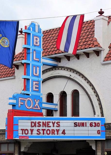 ID, Grangeville-ID 13 Blue Fox Theater Marquee & Neon Sign