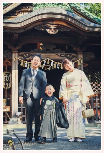 深川神社(愛知県瀬戸市)で七五三 ママもお着物 記念写真