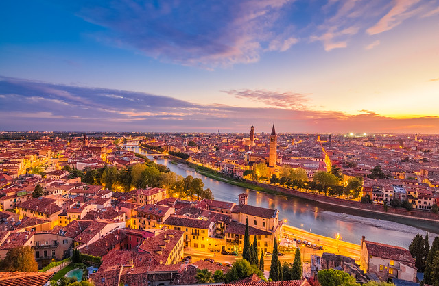 Verona at blue hour