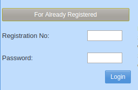 To make login you need to fill your registration number and password