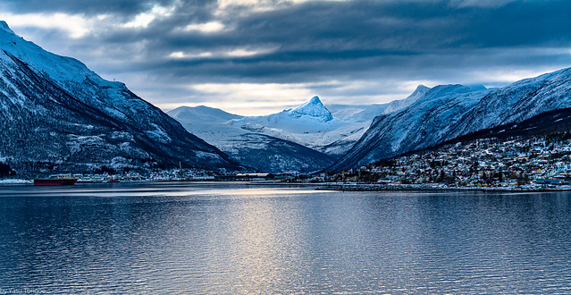 Sunrise view of the mountains, landscape and town of Narvik aboard the Viking Sky cruise ship sailing on Ofotfjord, Norway -9