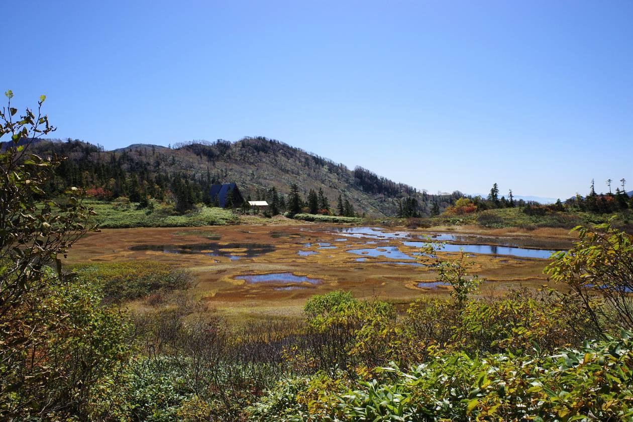 高谷池ヒュッテと湿原の草紅葉
