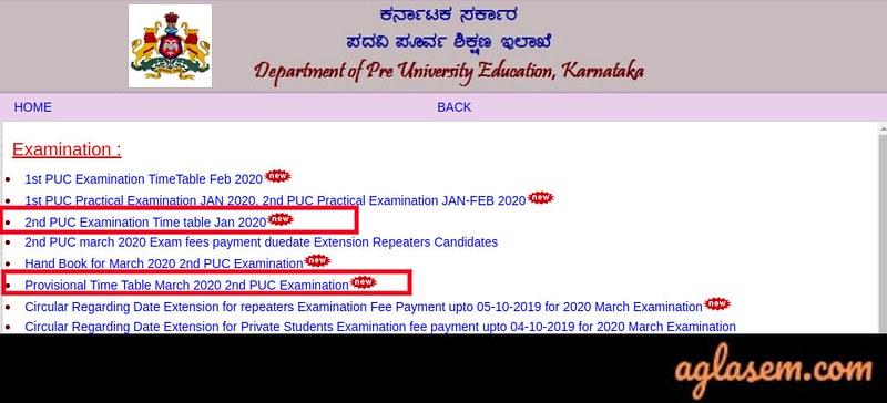 Karnataka Board Time Table 2020