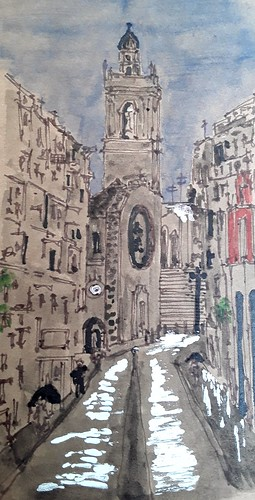 Valencia. Spain. Pen, ink, and watercolour on brown paper.