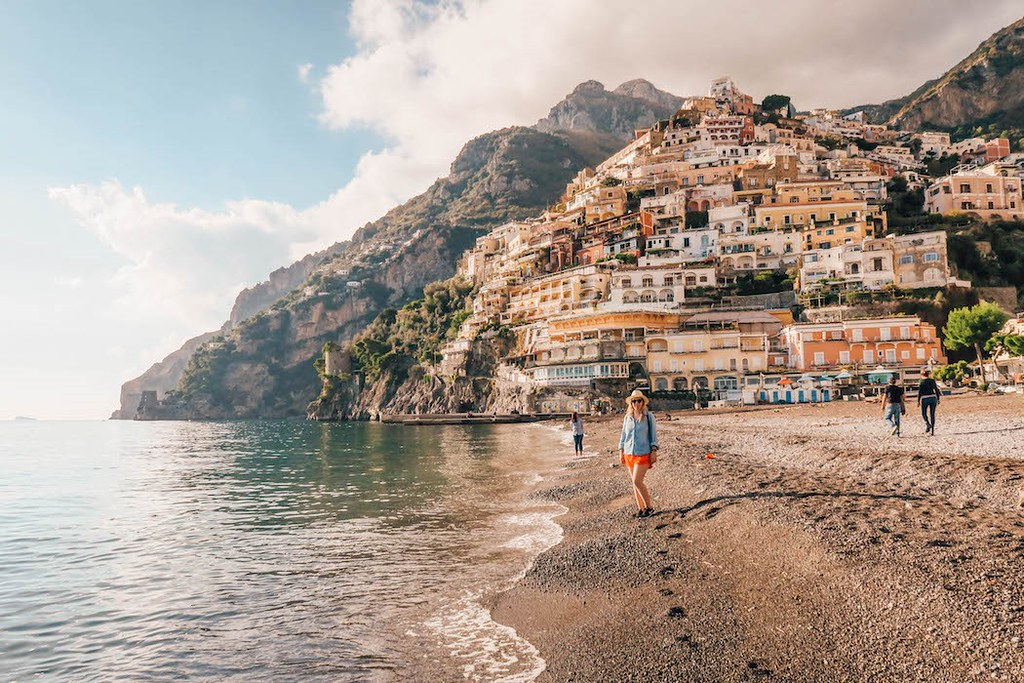 The main beach in Positano without many people on it