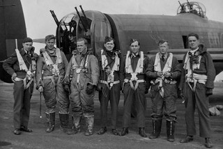 Pilot Richard Sellen 2nd from Left with his aircrew at the rear of a Lancaster  Bomber 1944.