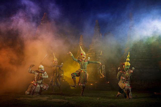 Ramayana story. The battle of Rama, Prangsorn. Thailand Dancing in masked perform a Thai traditional masked ballet (Khon). Thai culture dancing art in masked khon.