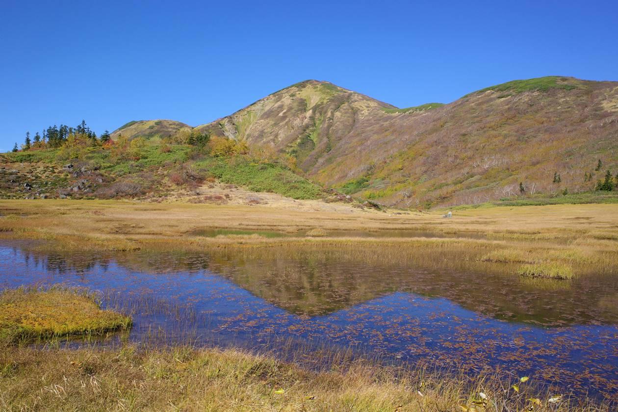 湿原の池に映る逆さ火打山
