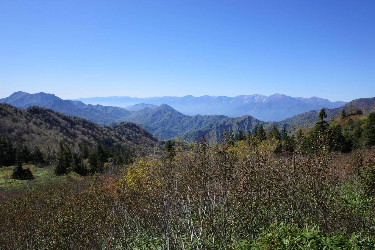 火打山登山道から眺める北アルプスの展望