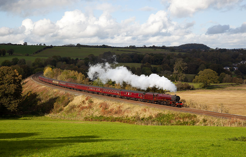 No.6201 'Princess Elizabeth' passes through Armathwaite at Low Baron Wood with the Railway Touring Companies returning Cumbrian Mountain Express of 12th October 2019.