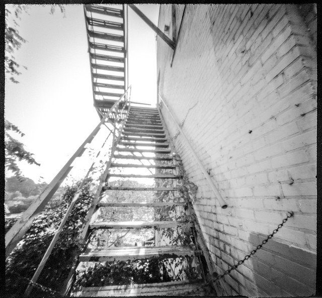 looking up, outdoor stairway, fire escape, architecture, River Arts District, Asheville, NC, 6x6 pinhole camera, Ilford FP4+, HC-110 developer, 10.10.19 (1 of 1)