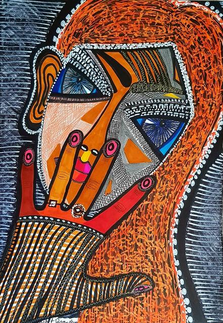 ציור אישה עם תכשיטים ציירת ישראלית מירית בן נון מודרנית עכשווית