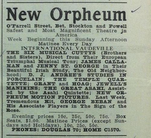 New Orpheum Theatre ad, San Francisco Dramatic Review November 10, 1910