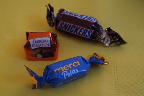 Snickers Mini, Ferrero Küsschen und Merci Petit