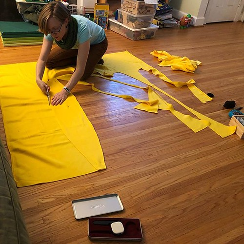 Maddy took a picture of me cutting the fleece for her banana costume. (Yes, she's going to dress up as her favorite verbal stim word for Halloween!)