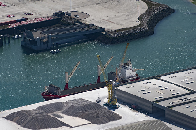 Aerial image of the m/v Landy in port at Boulogne-sur-Mer in France