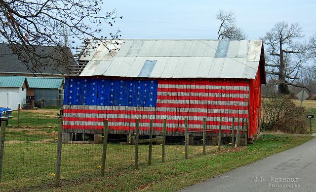 Patriotic Rural Tennessee Barn