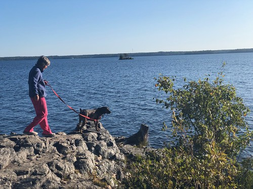 West Hawk Lake - Linda on the morning walk