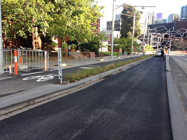 New separated bike lanes on Southbank Boulevard, Melbourne