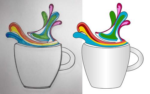 Tea Cup vector tracing or redraw image
