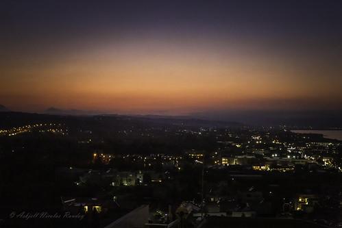 aegeansea crete evening greece nightfall platanias scenery sunset landscape sundown