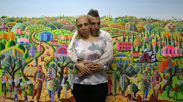 רפי פרץ  אמן צייר ישראלי עכשווי מודרני ארנה דוידזון ציירת אמנית   בביקור בסטודיו raphael perez orna davidzon israel painters artist