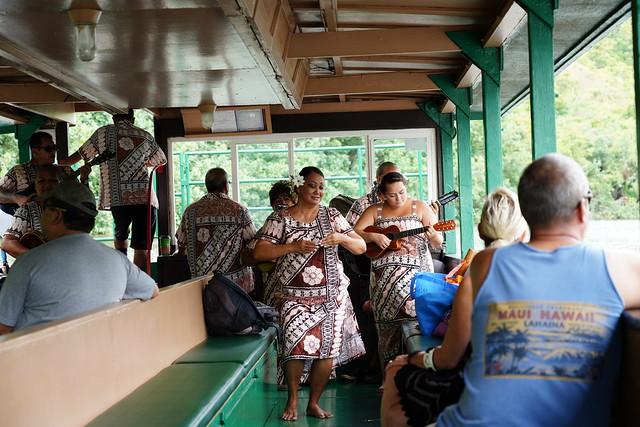 Hawaiian performers on Wailua river boat