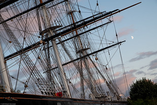 Cutty Sark rigging and moon