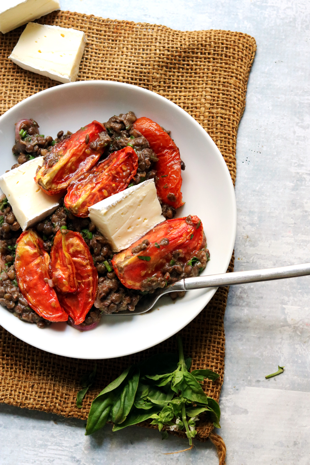 Lentil Salad with Caramelized Tomatoes and Brie
