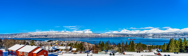 Multi-photo panoramic view of the mountains and landscape showing Ofotfjord and Narvik from a hilltop (Norway) -12a
