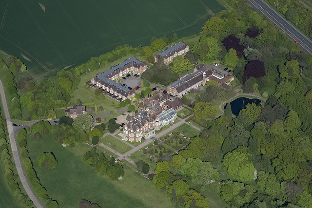 Whitlingham Hall in Norwich - Norfolk UK aerial image