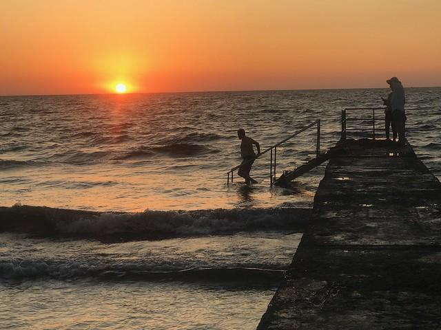 Beautiful sunset at the Lighthouse beach, Pathos.