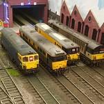 "Farnham & District Model Railway exhibit. O gauge ; 33117, 31154,73128 & 58027 "" Durham Road TMD "" 13/10/19"